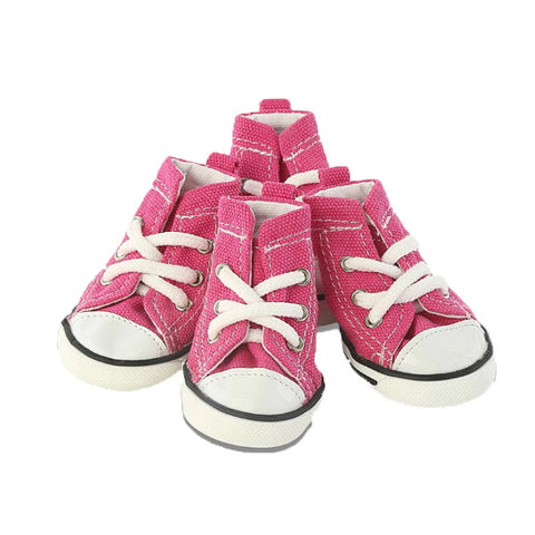 Lace Up Canvas Dog Sneakers - Pink