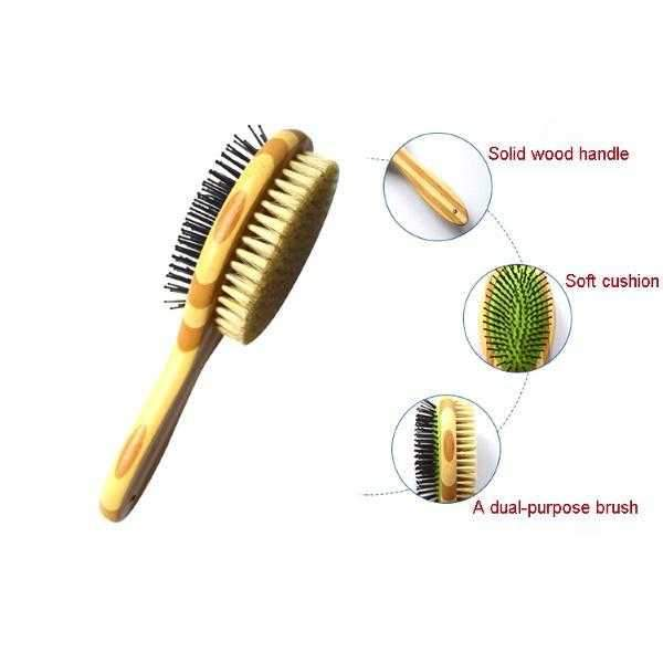 ### Bamboo Double Sided Grooming Brush-DoggyTopia