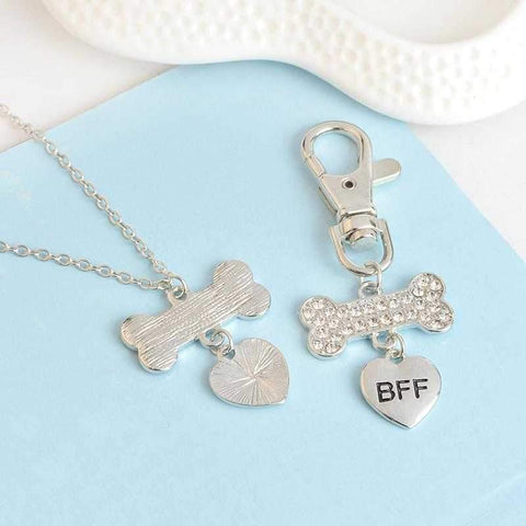 BFF Crystal Bone & Heart Necklace With Collar Charm-DoggyTopia