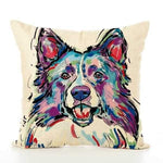 Border Collie Water Colour Throw Cushion-DoggyTopia