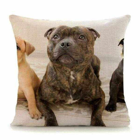 Brindle Staffy & Friends Throw Cushion-DoggyTopia