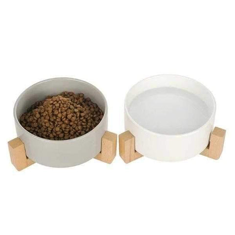 Ceramic Bowl with Wooden Stand-DoggyTopia