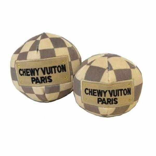 Chewy Vuiton Checker Ball Dog Toy-DoggyTopia