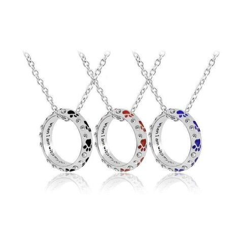 Circle Of Love Crystal Paw Print, Inscribed Pendant Necklace-DoggyTopia