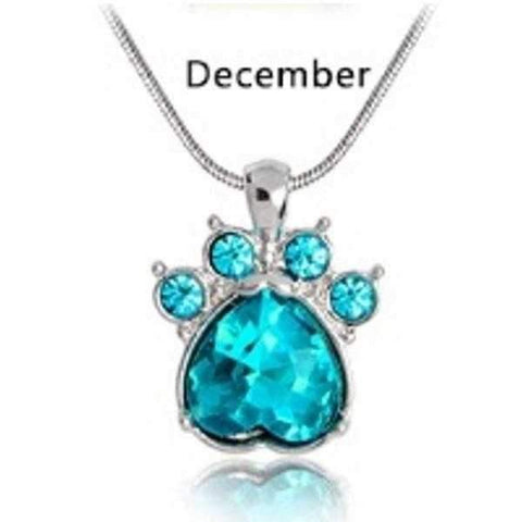 Crystal Birthstone Paw Pendant Necklace-DoggyTopia