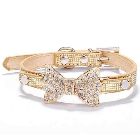Crystal Rhinestone Bow Dog Collar-DoggyTopia