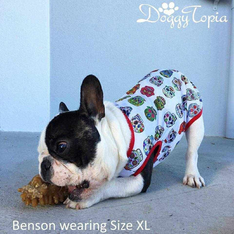 Day Of The Dead Skulls Dog Singlet-DoggyTopia