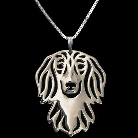 Dog Pendant Necklace - Dachshund Long Haired-DoggyTopia