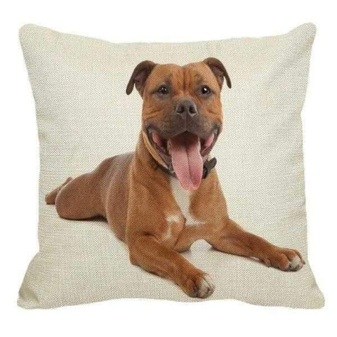 Fawn American Staffy Throw Cushion-DoggyTopia