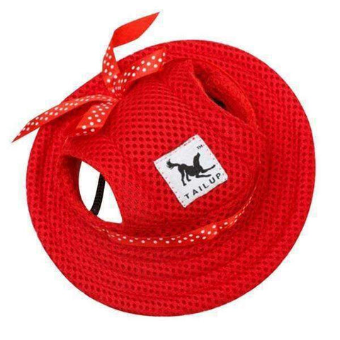 Image of Full Brim Dog Sun Hat Red-DoggyTopia