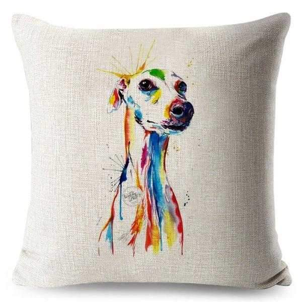 Greyhound Water Colour Throw Cushion-DoggyTopia