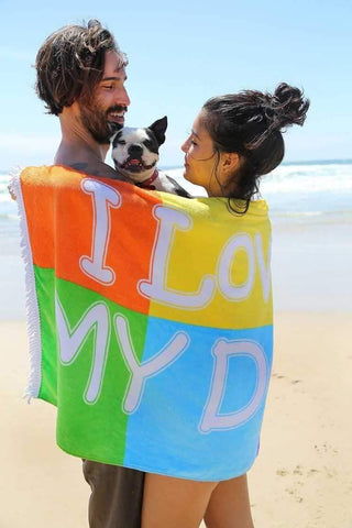 "Image of Growl Towels ""I Love My Dog"" Beach Towel-DoggyTopia"