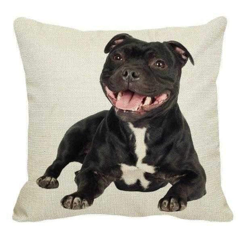 Happy Staffy Lying Down Throw Cushion-DoggyTopia