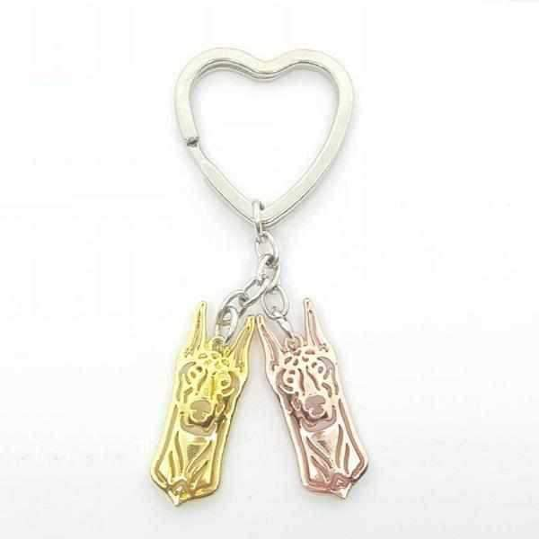 Love Heart Doberman Key Ring-DoggyTopia