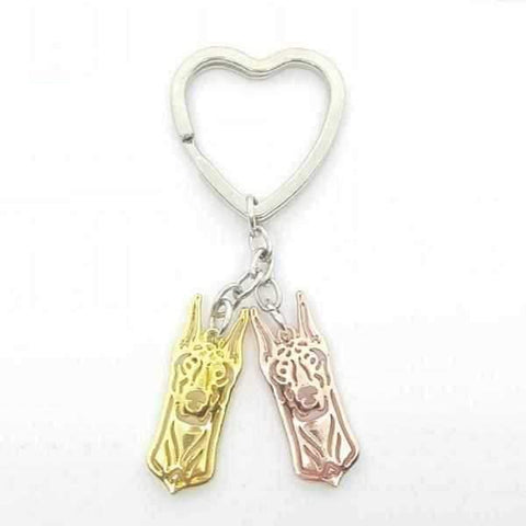 Image of Love Heart Doberman Key Ring-DoggyTopia