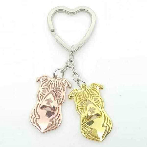 Love Heart Staffy Key Ring-DoggyTopia
