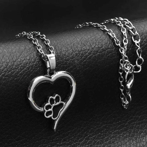 Image of Loyal Heart Paw Pendant Necklace-DoggyTopia