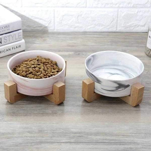 Marble Ceramic Bowl with Wooden Stand-DoggyTopia