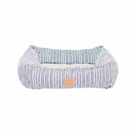 Image of Mog & Bone Bolster Bed - Chambray Stripe-DoggyTopia