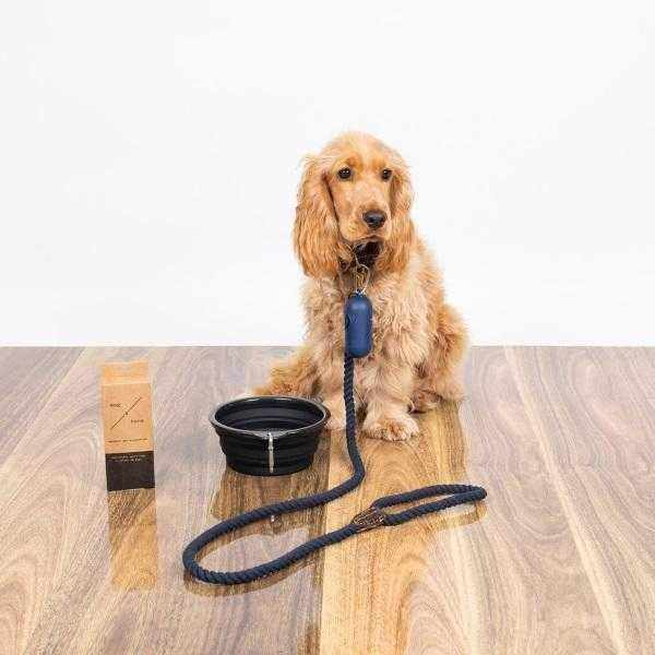 Mog & Bone Leather Rope Lead - Natural-DoggyTopia