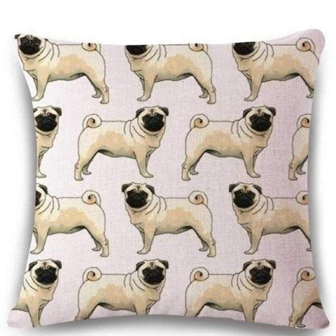 Multi Pugs Throw Cushion - Pale Pink-DoggyTopia