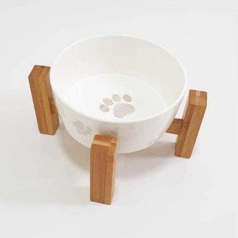 Paws Ceramic Bowl and Stand-DoggyTopia