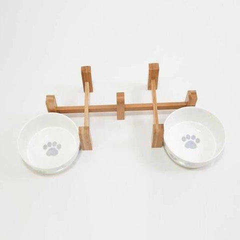 Paws Ceramic double Bowl Set With Stand-DoggyTopia