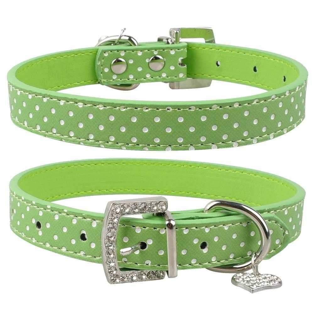 Polka Dot Diamante Collar & Heart Charm-DoggyTopia
