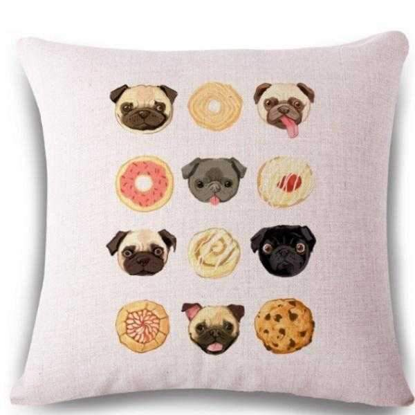 Pug and Sweets Throw Cushion-DoggyTopia