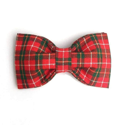Red Christmas Plaid Bow Tie Adjustable Collar-DoggyTopia