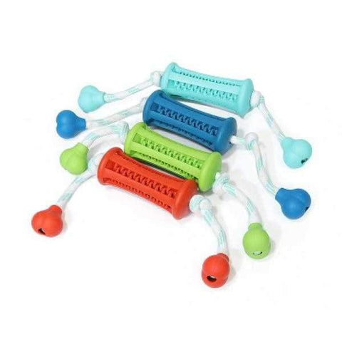 Rubber Dental Treat Barrel & Rope Toy-DoggyTopia