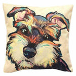 Schnauzer Water Colour Throw Cushion-DoggyTopia