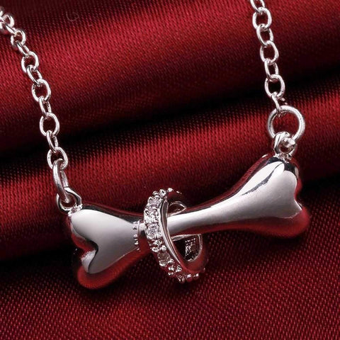 Silver Dog Bone Crystal Collar Pendant Necklace-DoggyTopia
