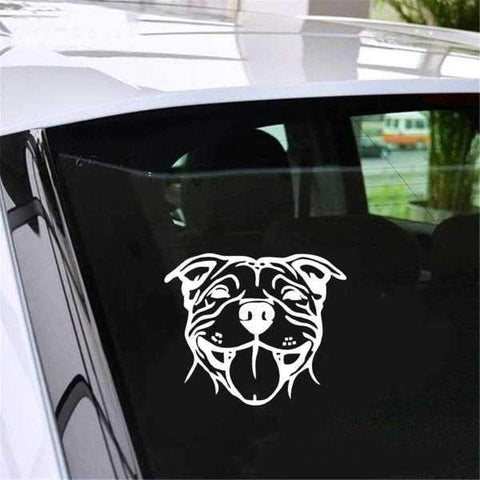 Smiling Staffy Car Decal-DoggyTopia