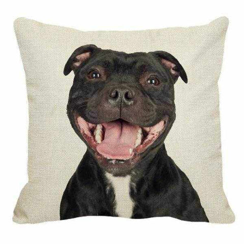 Smiling Staffy Throw Cushion-DoggyTopia