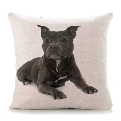 Staffy Laying Down Throw Cushion-DoggyTopia