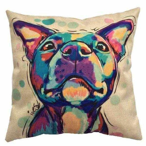 Staffy Water Colour Throw Cushion-DoggyTopia