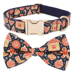 Xmas - I Heart Gingerbread Collar & Double Bow Tie-DoggyTopia