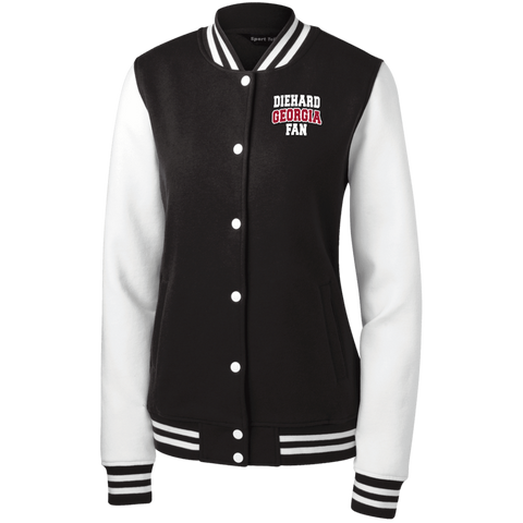 Diehard Georgia Fan Sport-Tek Women's Fleece Letterman Jacket