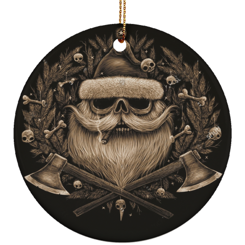Personalized Santa Skull Brown Ceramic Circle Ornament
