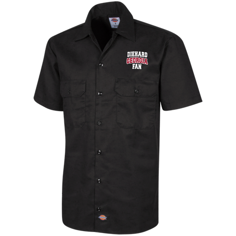 Diehard Georgia Fan Dickies Men's Short Sleeve Workshirt