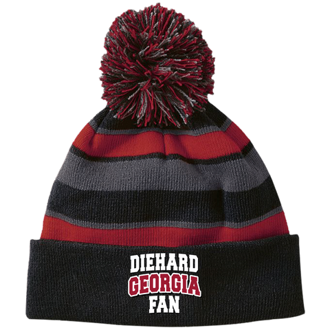 Diehard Georgia Fan Holloway Striped Beanie with Pom