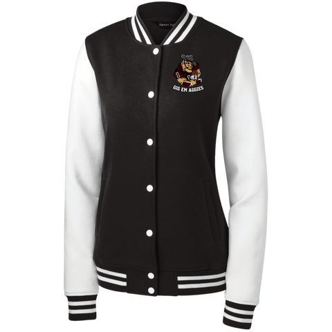 Gig Em Aggies Sport-Tek Women's Fleece Letterman Jacket