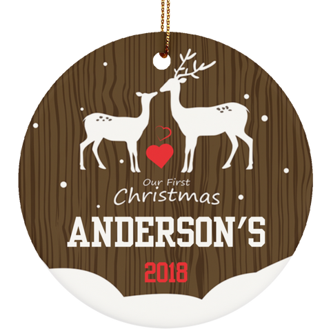Personalized Buck And Doe First Christmas Ceramic Ornament