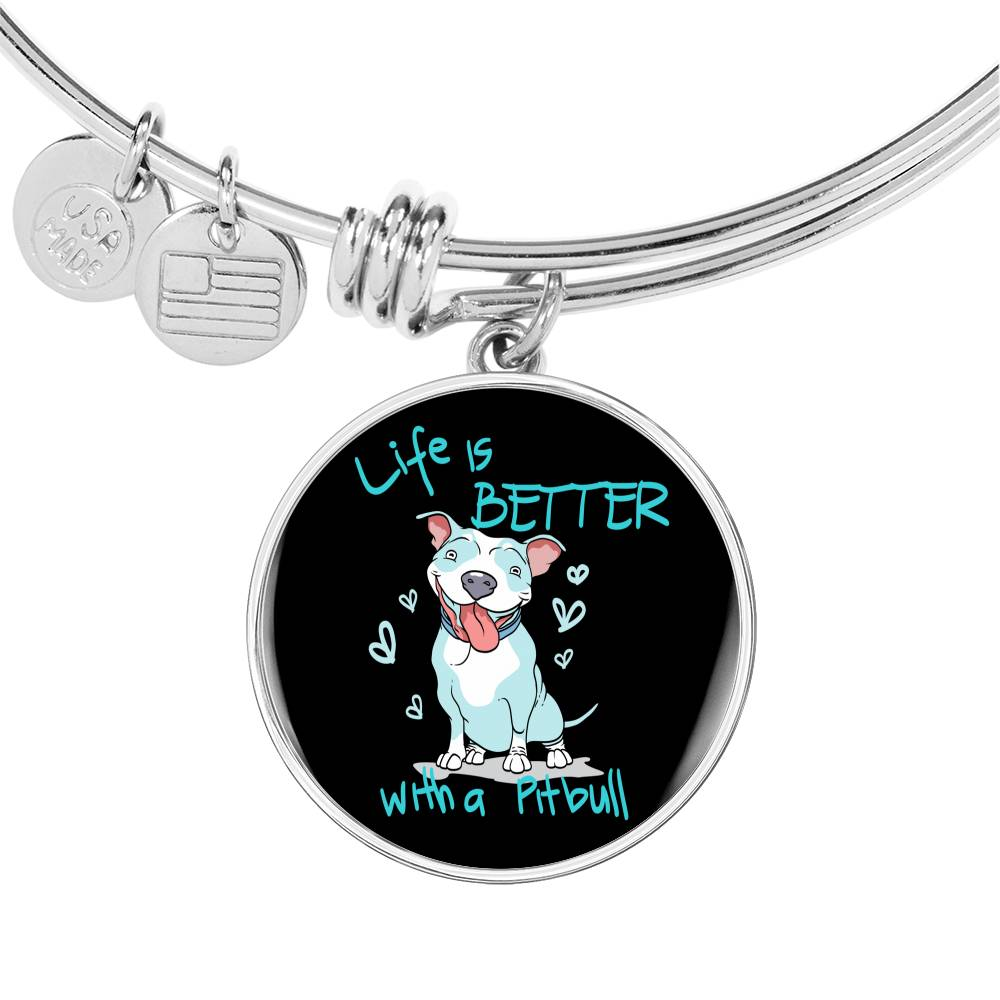 Life Is Better With A Pit Bull Bracelet With Pendant