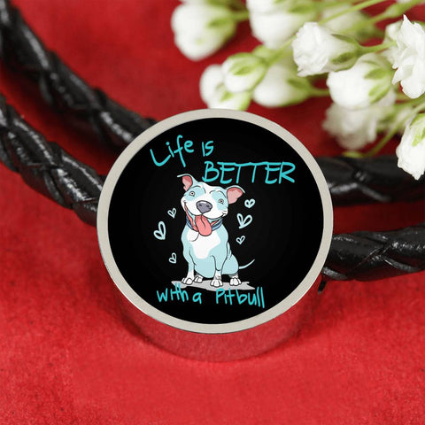 Life Is Better With A Pit Bull Leather Bracelet
