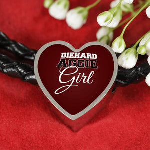 DieHard Aggie Girl Heart Leather Bracelet