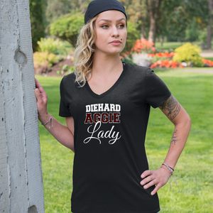 DieHard Aggie Lady Ladies V Neck Tee