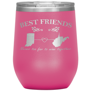 Personalized Best Friends Never Too Far To Wine Together Stemless Wine Tumbler