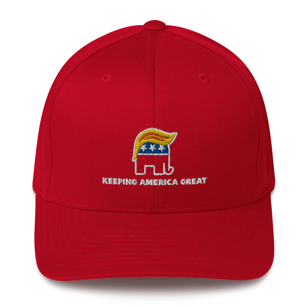 Republican Elephant Keeping America Great Structured Twill Cap